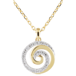 Collana Spirale d'amore - Oro bianco e Oro giallo - 9 carati - 24 Diamanti - 0.12 carati