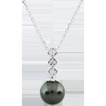 Collana trilogia su Perla - Oro bianco - 9 carati - 3 Diamanti - 4.88 carati