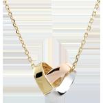 Collar Corazón Pliage 3 oros - oro amarillo, oro blanco, oro rosa 9 quilates