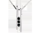 Collar diapasón Trilogía - oro blanco 18 quilates y diamantes negros