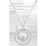 Collar - Flor de Sal - círculo - oro blanco 9 quilates y diamantes