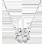 Collar Frescura - oro blanco y diamantes - Trébol Deslumbrante
