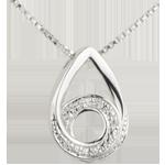 Collar Gota de Poesía - oro blanco 9 quilates