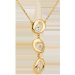Collar gotas de agua oro amarillo - 3 diamantes