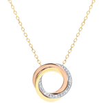 Collar Saturno - 3 oros - diamantes - 18 quilates