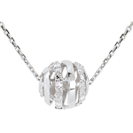 acheter on line Collier Amour en Cage or blanc - 11 diamants - 45cm