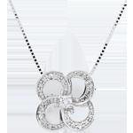 Geschenk Frau Collier Blüte - Weißer Klee - Gold und Diamanten