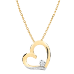 Collier coeur Amour-Amour - or blanc et or jaune 9 carats
