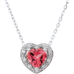 Collier Coeur Enchantement - tourmaline rose - or blanc 9 carats