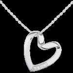 achat Collier Coeur Ruban - or blanc 9 carats