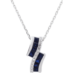 Collier Constellation - Zodiaque - saphirs et diamants - or blanc 9 carats