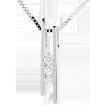 acheter en ligne Collier Diapason Trilogie or blanc - 3 diamants