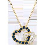 Collier Duetto di Cuori - Oro bianco e Oro giallo - 9 carati - 15 Zaffiri - 3 Diamanti - 0.35 carati