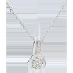 cadeau femmes Collier Éclosion - Pétales de Rose - 0.05 carat - or blanc 18 carats