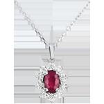 Collier Eternel Edelweiss - Marguerite Illusion - rubis et diamants - or blanc 9 carats