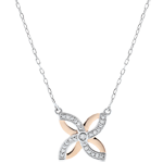 Collier Fraicheur - Lys d'Été - or blanc et or rose 9 carats