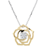 Collier Fraicheur - Rose Absolue - or blanc et or jaune 9 carats