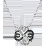 cadeaux femmes Collier Fraicheur - Trèfle Arabesque - or blanc diamants blancs et diamants noirs