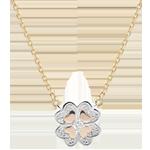 Online Verkäufe Collier Frische - Dreierlei Gold und Diamanten - Glitzernder Klee