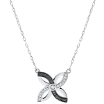 Collier Frische - Sommerlilie - Weißgold und schwarze Diamanten