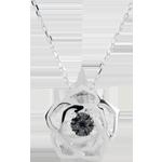 Collier Frische - Wahrhaftige Rose - Weißgold und schwarze Diamanten - 9 Karat