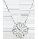 Online Verkäufe Collier Frische - Weißgold und Diamanten - Verspielter Klee