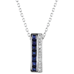 Juweliere Collier - Himmelskörper - Sternzeichen - blaue Saphire und Diamanten - Weißgold 9 Karat