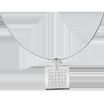 Geschenk Frauen Collier Karo in Weissgold - 0.45 Karat - 25 Diamanten