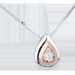 mariages Collier une larme d'antilope or blanc or rose et diamant