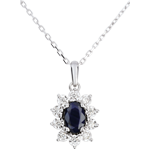 Collier Marguerite Illusion - saphir - or blanc 18 carats