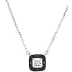 Schmuck Collier mit schwarzen Diamanten Dämmerschein - Weißgold - 0.03 Karat