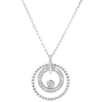Collier or blanc 18 carats et diamants - Fleur de Sel - cercle - or blanc 18 carats