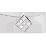 Collier dé or blanc 18 carats pavé - 0.23 carats - 9 diamants