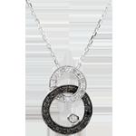 Collier or blanc 9 carats Clair Obscur - Duo de Lunes - diamants noirs et blancs