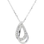 vente Collier or blanc Glamour - 17 diamants