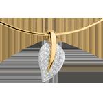 Collier pendentif Feuille de vie - or blanc et or jaune 18 carats