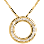 bijou or Collier pendule or jaune pavée - 22 diamants