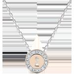 Collier Précieux Secret - or blanc et or rose 9 carats et diamants