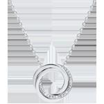 bijou or Collier Saturne - or blanc et diamants - 9 carats