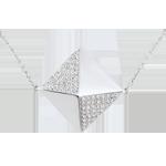 Collier Schöpfung - Lange Halskette Rohdiamanten Weißgold