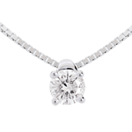 vente on line Collier solitaire or blanc 18 carats - 0.21 carat