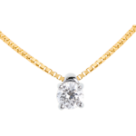 cadeaux femmes Collier solitaire or jaune - 0.21 carat