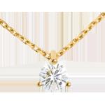 cadeau femmes Collier solitaire or jaune - 0.26 carat