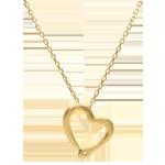 Geschenke Collier Spaziergang der Sinne - Schlange der Liebe Variation - Kleines Modell - Eismattes Gelbgold und Diamanten - 9 Karat