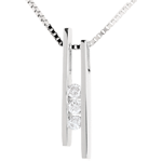 Collier Stimmgabel Trilogie in Weissgold - 3 Diamanten