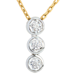Collier Trilogie Filante - 3 diamants - or blanc et or jaune 18 carats
