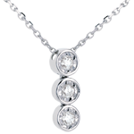 Collier trilogie filante or blanc 18 carats - 3 diamants