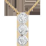 Geschenke Collier Trilogie Sternschnuppe in Weiss- und Gelbgold - 3 Diamanten