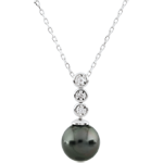 Collier Trilogie sur Perle - 3 diamants - or blanc 9 carats