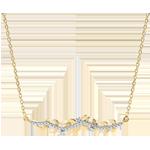 Collier Verzauberter Garten - Königliches Blattwerk - Gelbgold und Diamanten - 9 Karat
